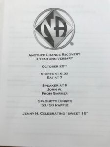 Another Chance Recovery 3 year Group Anniversary